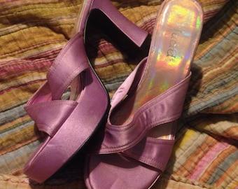 Lilac Mudd platform pumps silky 90's vintage US 6.5