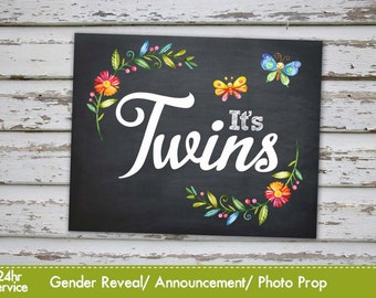 It's twins, Gender Reveal Baby Shower Announcement, Baby twins Gender reveal Photo Prop Chalkboard Announcement INSTANT DOWNLOAD