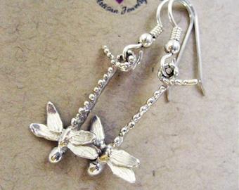Dragonflies,Dragonfly Earrings,Dragonfly Jewelry, Sterling Silver drop earrings,Dangle Earrings,Gardener Gift,Lucky Charm,Nature lover gift