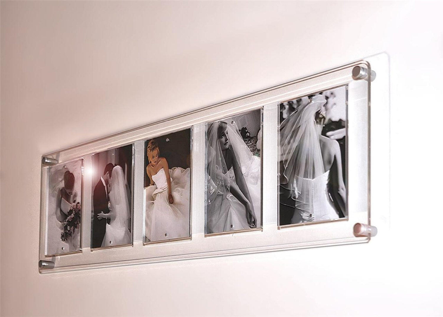 cheshire acrylic perspex clear 95x33 magnetic easy change floating wall mount multi picture photo frame for 5x 5x7 high gloss finish - Easy Change Artwork Frames