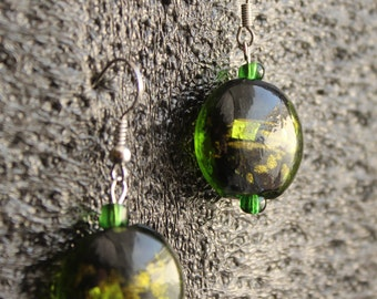 Green & Gold Bead Earrings