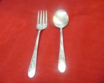 Tudor Plate Oneida Community Flatware Fork and Spoon Bridal Wreath