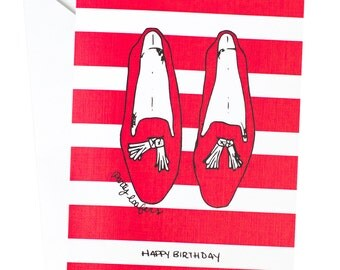 Party Loafers Birthday Card, Party Loafers, Tassel Loafers, Birthday, Happy Birthday Card, Red Shoes