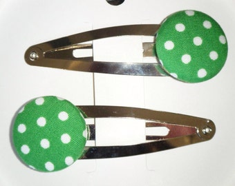 Toddler/Girl/Adult Button Snap Hair Clips Set of 2 - White Spots on Green - Silver Clips