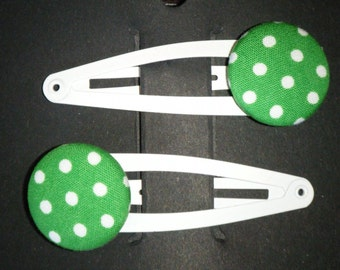 Toddler/Girl/Adult Button Snap Hair Clips Set of 2 - White Spots on Green - White Clips