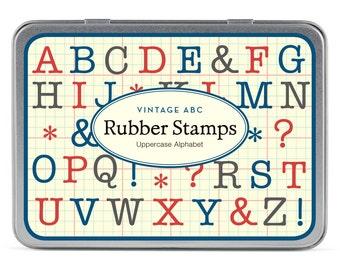 Cavallini and Co Upper Case Alphabet Rubber Stamp Set, Alphabet Rubber Stamp Set, Craft Supplies, Scrap Booking, Journal supplies, Alphabet