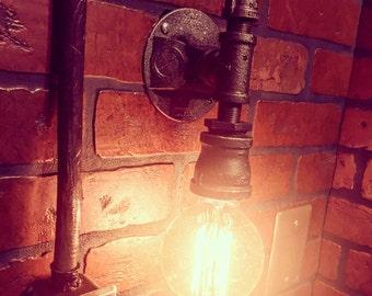 Steampunk Streamline Wall Sconce industrial light. Cast iron wall art rustic pipe