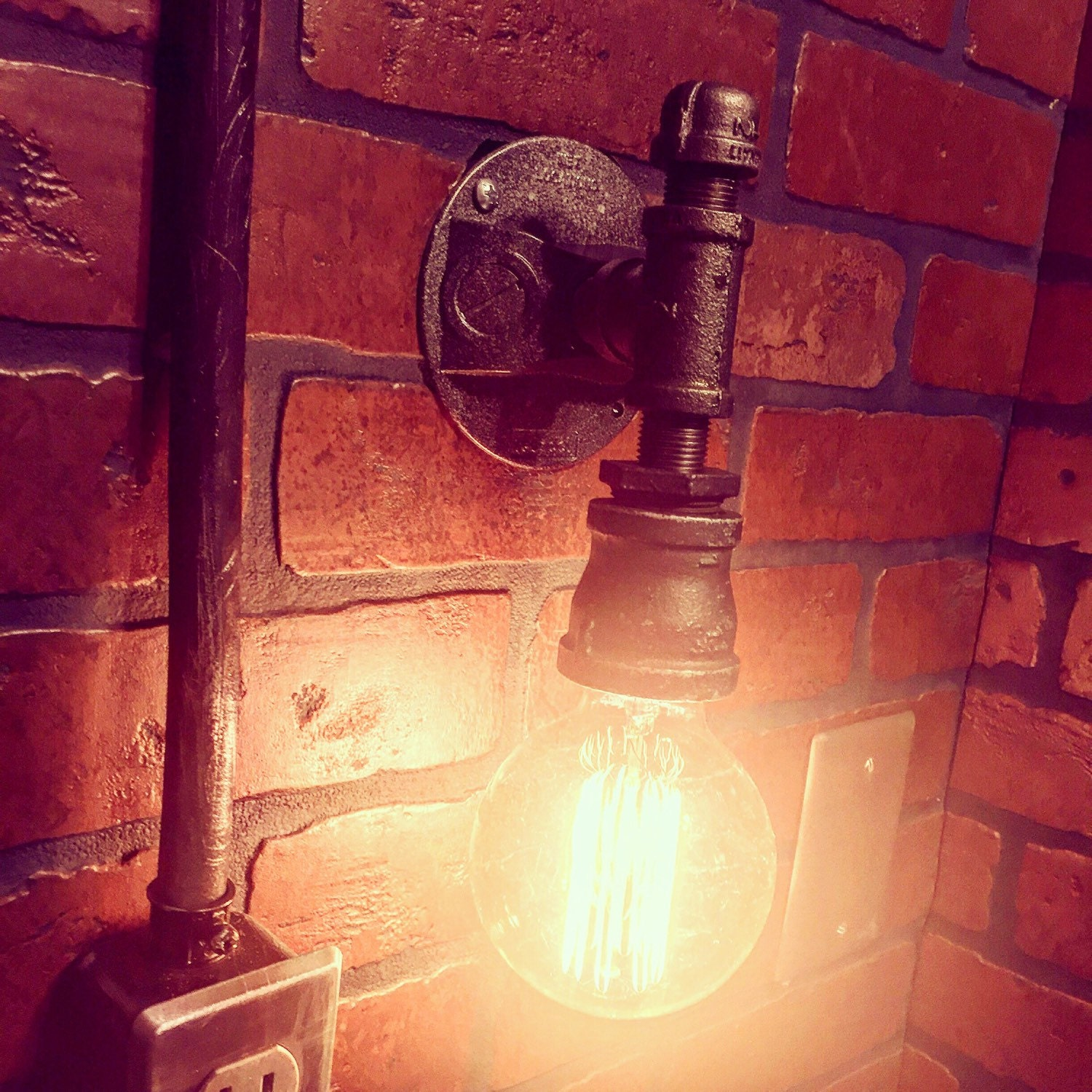 Steampunk Streamline Wall Sconce Industrial Light. Cast Iron