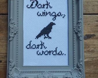 Dark wings, dark words. Game of Thrones inspired Raven cross stitch.