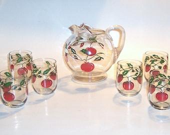Juice Set, Glass Ball Pitcher 4 oz Glasses Tomato Motif.