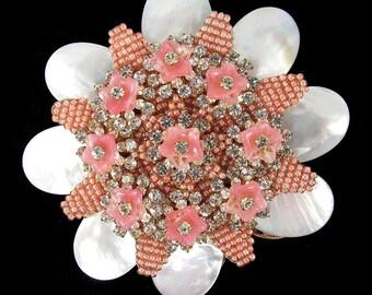 Signed Stanley Hagler pink flower brooch c. 1960