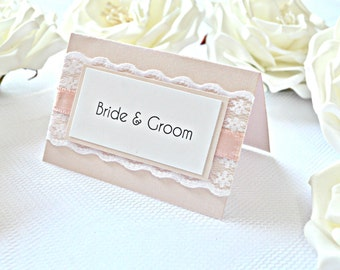 Pink Lace wedding place cards, Pink place cards, pink placement cards, blush place cards, lace place cards, pink seating cards