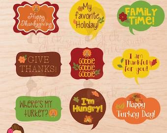 Thanksgiving, Thanksgiving props, Printable props, Photo Booth, Digital Props, Photo Booth Props, Speech Props, Digital