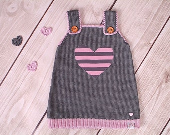 Baby dress knitting dress heart retro
