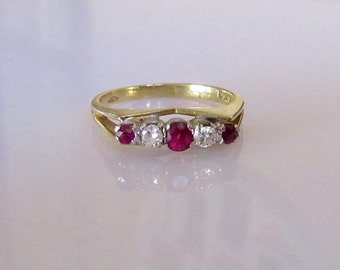 18ct Gold Ruby and Diamond Five Stone Ring