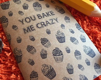 A4 A5 you bake me crazy cake recycled notepad notebook sketchbook