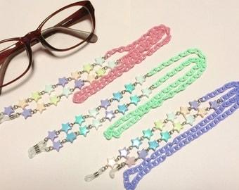 Pastel, beads, kawaii, glasses chain, glasses strap, star, pink, purple, green, pastel goth, lolita, pop kei, fairy kei,