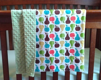 Bright Apples and Pears Large Cotton and Minky Baby Blanket