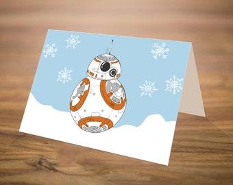 Star Wars Christmas Card | Printable Christmas Card | 6x4 | Instant Download Card | BB-8 Star Wars | Nerdy Christmas Card