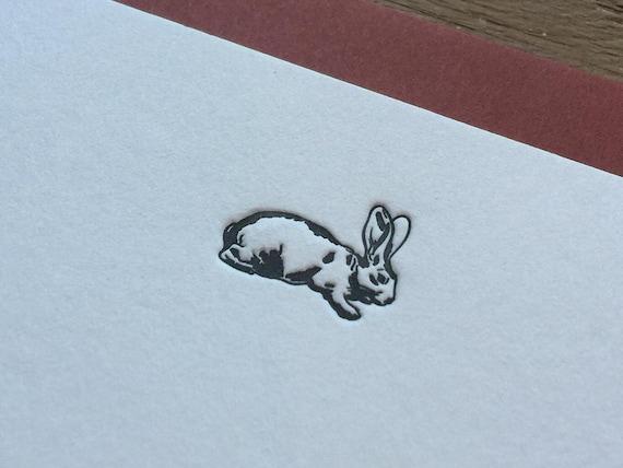 Bunny - Letterpress Flat Note Card Set / Greeting Card Set / Cute / Animal Theme - 4 cards