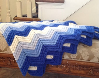 Vintage chevron afghan, hippie blanket, blue and white chevron blanket