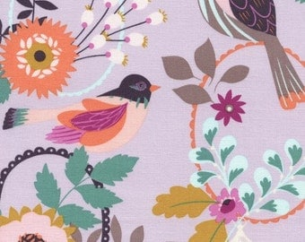 9.95 Yard - Timeless Treasures Felicity Birds Felicity - C4429 - Lavender - Quilt Cotton -  100% quilting weight cotton