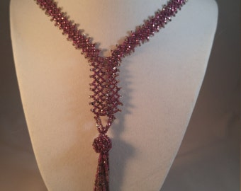Vintage Purple Woven Glass Seed Bead Tassel Necklace
