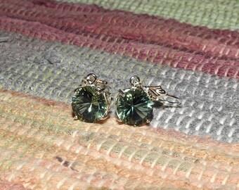 Brazilian Green Amethyst 6.95 TCW 10 MM Round Concave Cut Leverback Earrings