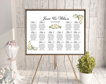 Printable Elegant Floral Wedding Seating Chart, Find your seat, Wedding Seating Poster, Wedding Sign, Wedding Seating Board WD20 WC135