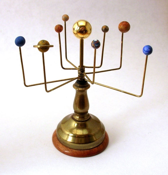 Miniature Orrery Solar System Model Vintage Brass Wood