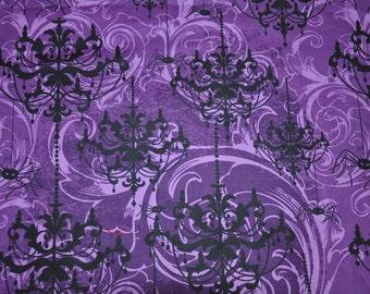 1/2 Yard of Purple Halloween Chandelier 100% Cotton Quilt Fabric