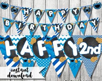 Cookie Monster Banner, Cookie Monster Birthday Banner, Cookie Monster Printable Banner, Happy Birthday Banner, Cookie Monster Party
