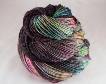 Hand Dyed Sock Yarn, hand dyed wool, variegated sock yarn, nylon sock yarn, pink, purple, green, blue, yellow, black