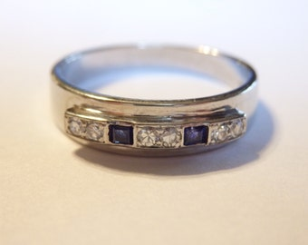 Antique 18k white gold platinum sapphire diamond ring, size 7.5