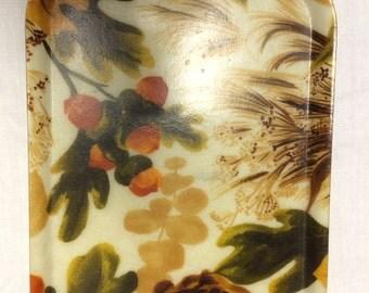 Fall acorn motif Traymold serving tray; fiberglass, mid century modern home, fall decor, acorns, leaves, serving and entertaining