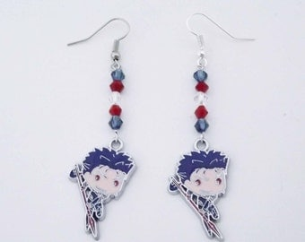 Fate Stay Night Lancer Fate Grand Order swarovski crystal earrings anime cosplay jewelry