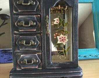 Vintage Jewelry Box, Shabby Chic Black Jewelry Box