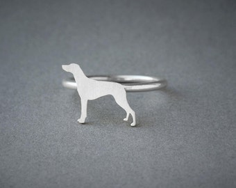 GERMAN POINTER RING / German Pointer Ring / Silver Dog Ring / Dog Breed Ring / Silver, Gold Plated or Rose Plated.