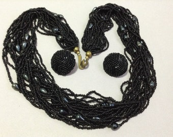 Black Glass Bead Torsade Necklace and Earring Set