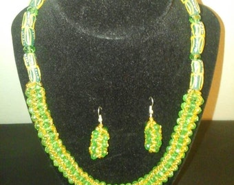 Green and gold beads necklace and earrings