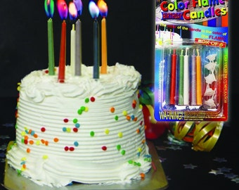 Colored Flame Birthday Candles. 24 packs of 6 (144 total candles) with 144 holders