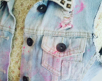 Cropped Denim Vest, Rework Reworked, Upcycle Upcycled, Cut Off Vest, Riot Grrrl, Crop Denim Vest, Distressed Denim, Studded Vest