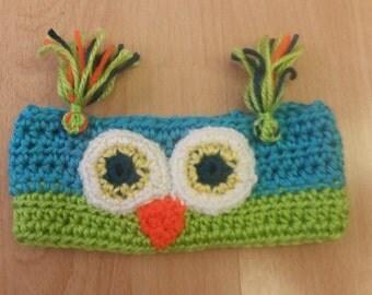 Pink and Yellow Owl Headband child size 12 mo - 36 mo