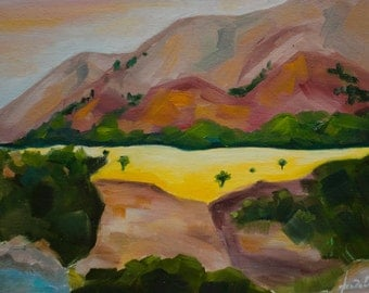 Martian landscape, Original landscape, oil on canvas, mountains, oil painting on canvas, Hand oil painting
