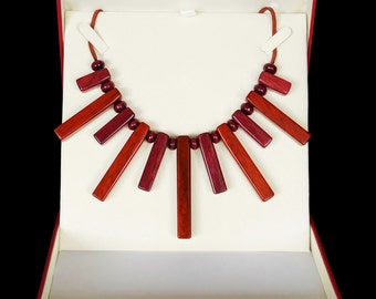 Rare Exotic Purple Heart Wood  and Padauk wood Necklace