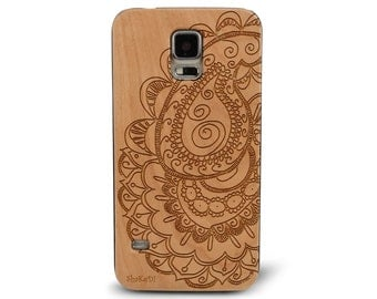 Genuine Wood Cell phone Case with Floral Henna Doodle Paisley Freehand  Pattern Laser Engraving for Galaxy S5, S6 and S6Edge S-005