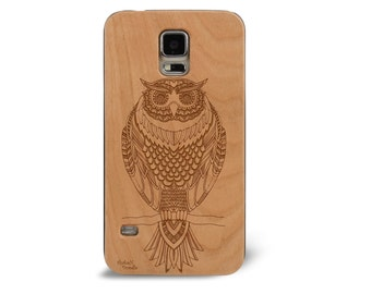 Laser Engraved Hand Drawn Tribal Doodle Zentangle Inspired Owl Wood phone Case for Galaxy S5 S6 S6 Edge S-060