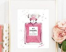 CHANEL nº 5 PARFUM WATERCOLOR pink bottle. Chanel n.5 original handame.Glamour wall art print Chanel rose perfume Modern Fashion Room Decor