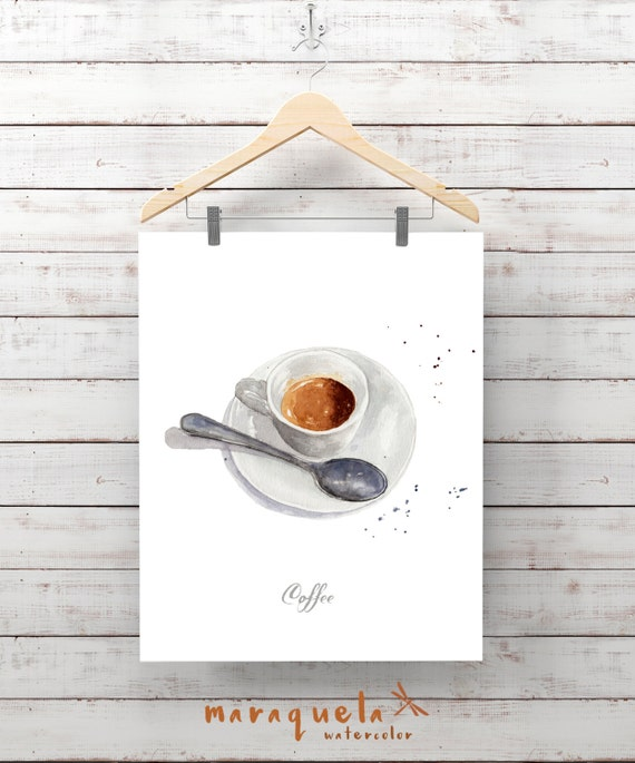 COFFEE illustration, Breakfast ,espresso cafe italiano, Wall Art capuccino, Culinary print, Kitchen decor, ideas for wall restaurant, cafe