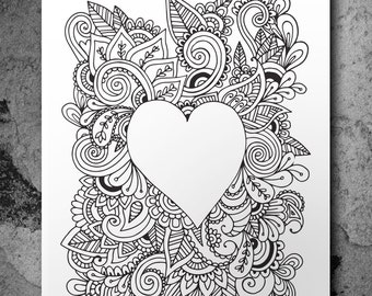 Love Heart Doodle Adult Colouring Poster A3